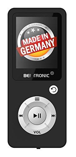 BERTRONIC Made in Germany BC04 Royal MP3-Player, 16 GB ★ Bis 100 Stunden Wiedergabe ★ Radio | Portabler Player mit Lautsprecher | Audio-Player für Sport mit Micro SD-Karte & Silikonhülle (Mp3-player 16gb Schwarz)