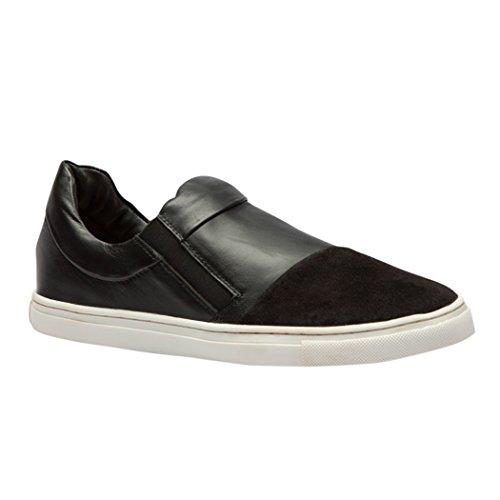 TEDISH Chaussures Femme Confortable Lacets Plat de Marche Cuir Outdoor Loisirs Dames Baskets Mode-TD06 Reine Black