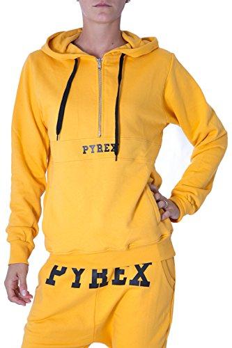 PYREX - Felpa unisex uomo donna con cappuccio regular fit 33001 Ocra