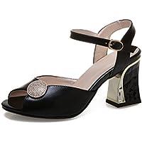 Onfly New Frauen Casual Slingback 2018 New Leather Spitz Nieten Pumps Bow Buckle Sandalen eu size  38Schwarz