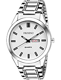Frosino Mens Watch, Unique Quartz Analog Dress Business Casual Watches Stainless Steel Band Wrist Roman Numeral Waterproof Watch, Classic Calendar Date Window - White - FRAC101826