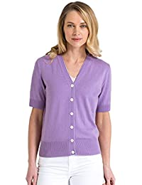 13247a20d Woolovers Womens Silk and Cotton Short Sleeved Knitted Cardigan