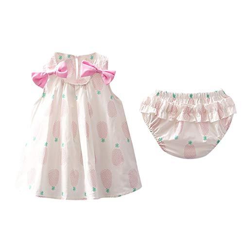 feiXIANG Kleid + Hose Set Baby Mädchen Outfits Kleidung Bowknot Neugeborenes Kleider Karotte Print Hemdkleid (Rosa,90)