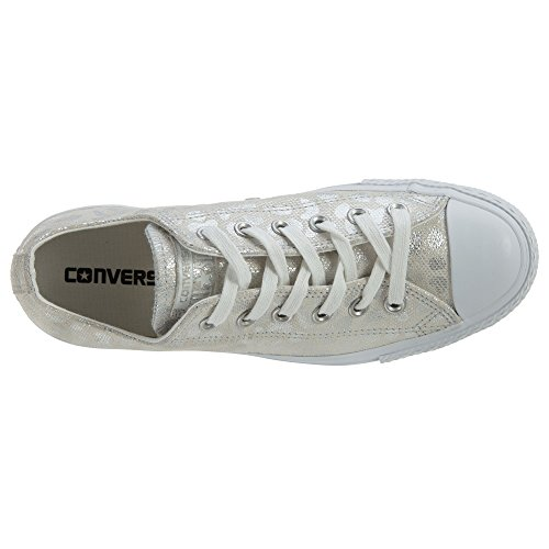 Converse Womens Chuck Taylor All Stars Brea Animal Glam OX Low Top Textile Trainers White Silver