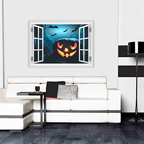 Qjhdg zucca lanterna pipistrelli stickers murali decorazioni di halloween 3d finestra finta adesivi casa festival murale art poster pvc bambini regali 50x70 cm