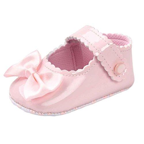 (Turnschuhe Kleinkind Schuhe Babyschuhe Mädchen Tanzschuhe Ballerinas Leder T-Strap Schuhe Lauflernschuhe Mädchen Krabbelschuhe Streifen-beiläufige Wanderschuhe LMMVP (Rosa, 12 (6~12 Monate)))