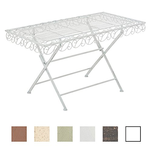 CLP Tavolino Rettangolare Josefa in Ferro – Tavolo da Giardino Realizzato a Mano in Stile Shabby Chic I Tavolo da Esterno Resistente e Facile da Pulire I Molti Colori a Scelta Bianco Antico