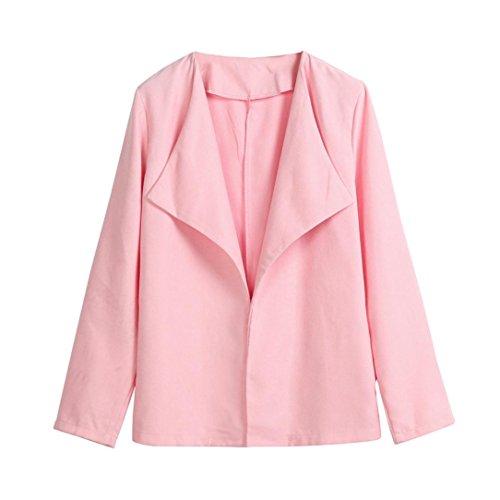 Hansee frauen Langarm Büro Beiläufige Dünne Anzug Business Revers Blazer Jacke Strickjacke Mantel Outwear Top Outwear (L, Rosa)