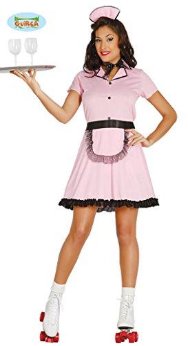 Sexy Kellnerin Rollergirl Serviermädchen Rollschuh Fahrerin Serviererin Kostüm für Damen Gr. M-L, (Rollschuh Kostüm)
