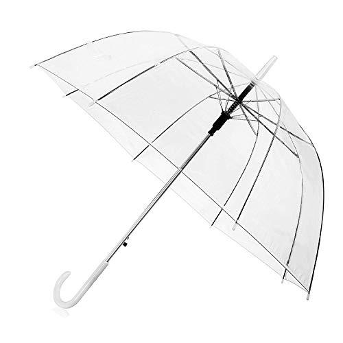 Durchsichtiger Regenschirm, Hochzeit Transparenter Regenschirm ist gefertigt aus Transparentem Wasserdicht PVC Material mit Stabilem Fiberglasgestell