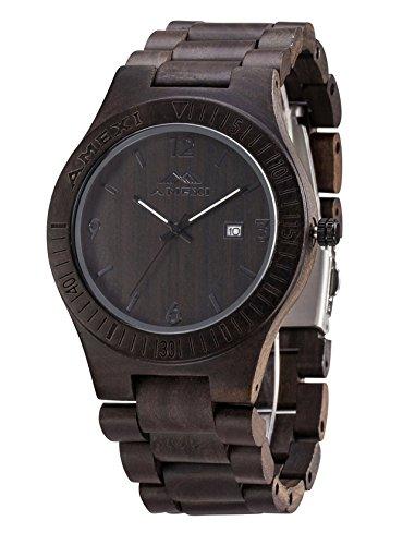 AMEXI Holz Uhren Herrengröße Armbanduhren In schwarzem Sandelholz Japan Quarzwerk Zu verkaufen