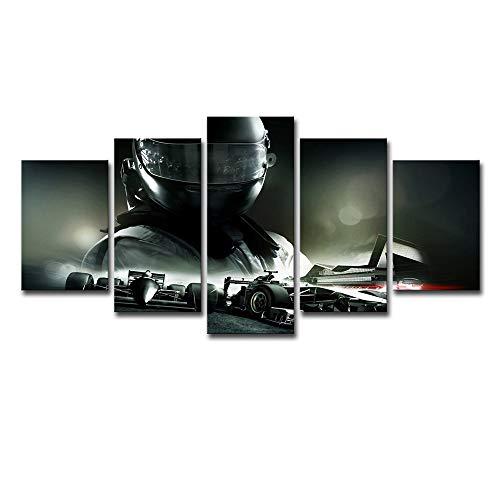 OHHCO Impressions sur Toile 5 Pièces F1 Voitures De Course avec Racer Mur Art Photo Décoration Home Salon Impression sur Toile Mur Photo Impression