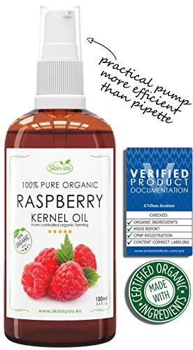 Himbeersamenöl 100% Reines Bio Kaltgepresst 100ml | Anti-Aging, Pflege, Vitamin A/E, EFA reichhaltiges Öl | Behandelt Falten, Fältchen, trockene Haut | Eine 100% BIO Gesichtspflege