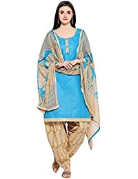 EthnicJunction Women's Cotton Dress Material for Women Patiala Style Unstitched (EJ1097-101_Sky Blue)