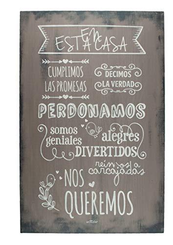 Enkolor/Cuadro Madera/Frases positivas/Normas casa/Artesanal/Cacao/40X60cm
