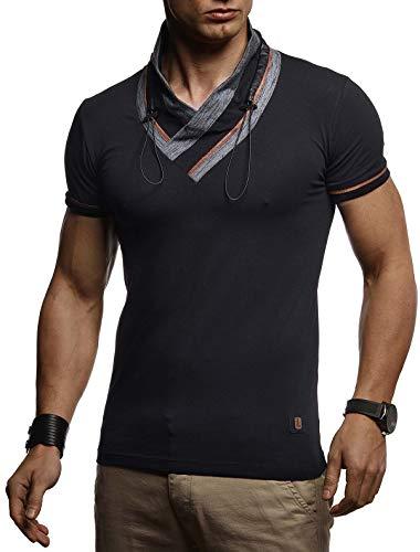ommer T-Shirt Schalkragen Slim Fit Baumwolle-Anteil | Basic Männer Kurzarmshirt V-Neck Hoodie-Sweatshirt Kurzarm lang | Weißes Jungen Shirt Longsleeve | LN4860 Schwarz Large ()