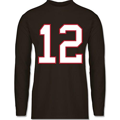 Shirtracer American Football - Football New England 12 - Herren Langarmshirt Braun