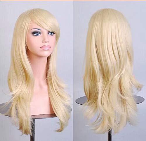 Arimika Perücke, 61 cm, lang, gewellt, Rosa, hitzebeständig, synthetisches Haar, Lace-Front, dezenter Scheitel, durchsichtige Spitze, für weiße oder helle Kopfhaut