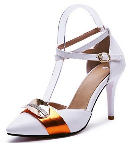 VogueZone009 Damen Stiletto Blend-Materialien Gemischte Farbe SchnallePumps Schuhe Weiß