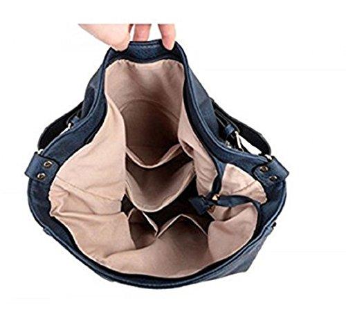 LeahWard® Damen Mode Essener Groß Hobo-Tasche mit Gurt Qualität Modisch Kunstleder Schulter Handtasche CWS00448 CW1248 CW785 CWB011627 Marine H39cm x W46cm x D17cm