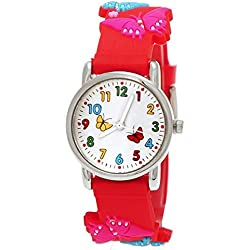 Cute Pure Time Children's Watch-Kids Silicone Bracelet Watch with Butterfly Design Red Cover + Watch Box