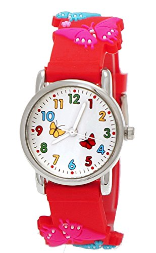 Totenkopf Kostüme Jungen Soldat (Süße Pure Time Kinderuhr,Kinder Silikon Armband Uhr mit Schmetterling Motiv Rot,inkl.)