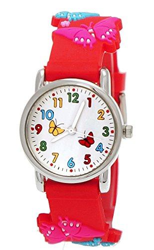 Süße Pure Time Kinderuhr,Kinder Silikon Armband Uhr mit Schmetterling Motiv Rot,inkl. Uhrenbox