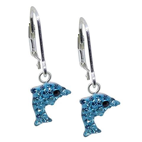 SL-collection kinderohrringe leverback boucles d'oreilles dauphin argent 925/1000–cristal