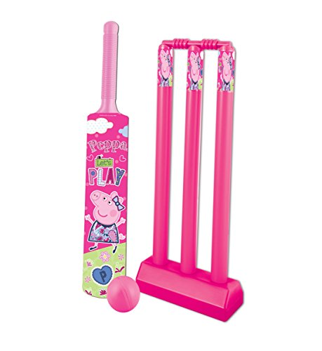 Peppa Pig Cricket set packed in PVC carry case for Children of age 3 to 8 years| Premium Quality | Certified Safe as per European Safety Standards (EN71) | Sports development toys for Kids | Pink Color | Includes 1 Bat, 1 ball and Stumps with Bails