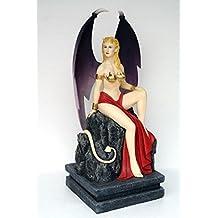 Diablo de mujer sentado en piedra verkleinert 154cm para exterior de fibra de vidrio de alta calidad de plástico (GFK)