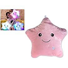 DSstyles LED Light Luminous Pillow Star Shape Light up Cojín felpa de juguete Ideal Valentines Gifts for Girlfriend - Rosado