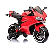 GetBest 99 Ride on Bike for Kids with 12V Battery Operated, Spring Suspension, Wheels Light, Music Option and Hand Accelerator, Red
