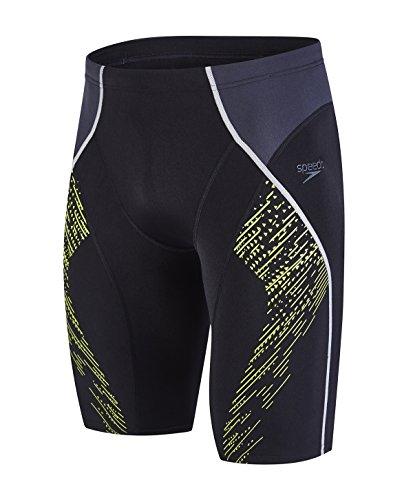 Speedo Fit Herren Fit Panel Jammer Swimwear, Black/Oxid Grey/Lime Punch, 5 (Logo-print Trunk)