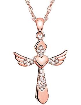 Yumilok Roségold 925 Sterling Silber Zirkonia Herz Engelsflügel Kreuz Anhänger Halskette Kette mit Anhänger Kreuzkette...