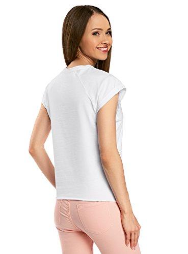 oodji Ultra Donna T-Shirt in Cotone con Orlo Grezzo (Pacco di 2) Bianco (1000N)