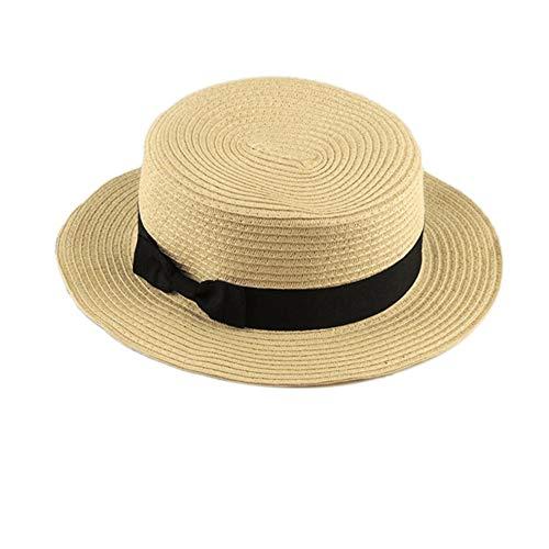 Modisches design kinder mädchen erwachsene frauen sommer sonnencreme boater hut klassische weben stroh damen flat top strand hut - Frauen Klassische Für Hüte