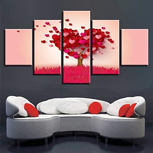 HD gedruckt Moderne PrintLandscape 5 teiliges Herz TreePictureFor Wohnzimmer Art Modular Home Wall Decor