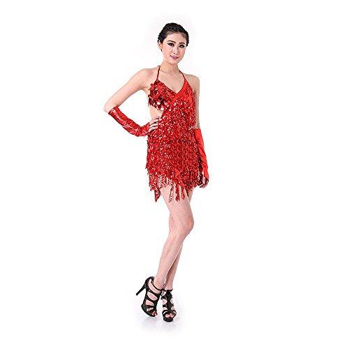 SymbolLife lateinamerikanische Tänze Tanzkostüme Damen Tanz Kleidung Hochzeitkleid Tanzkleid Partykleid Darbietungen Tanzkostüme für Karneval Halloween Kleid + Handschuh (Kleid Pailletten Dance Kostüme)
