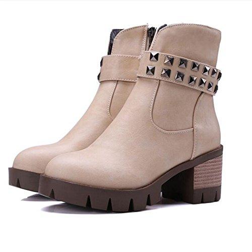 ZQ@X In autunno e in inverno, testa tonda impermeabile dello spessore di Taiwan con scarpe con i tacchi alti elegante e versatile studenti, stivaletti stivali femmina Beige