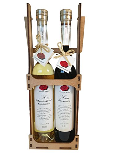 Gourmet Berner Flaschenträger – Aceto Balsamico dunkel & Aceto Balsamico Bianco je 0,2l