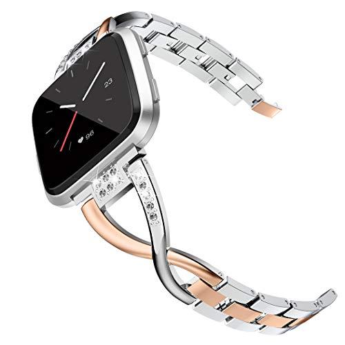 Wearlizer für Fitbit Versa Armband, Metall Ersatzarmband Armbänder Sport Band für Fitbit Versa Special Edition Klein Groß - Rose Gold + Silber