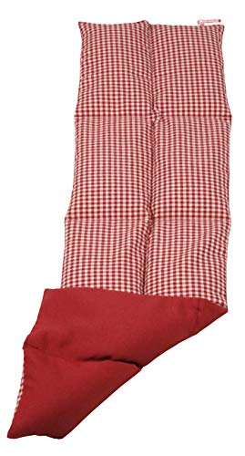 Textil FreWe Körnerkissen Baumwolle/Verschiedene Designs/ca. 63x16 cm / 8 Kammern/rot-beige kariert/rot