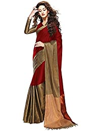 Rajeshwar Fashion Women's Maroon Cotton Silk Saree With Blouse Piece
