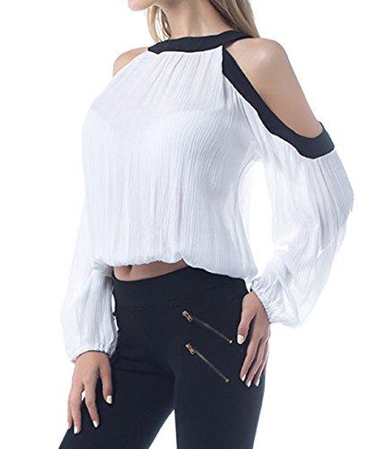 Autunno Maglie a manica lunga Donna Camicie senza spalla Bluse larghi T-shirt Top Shirts Bianco