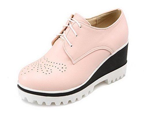VogueZone009 Femme Matière Souple Lacet Rond Couleur Unie Chaussures Légeres Rose