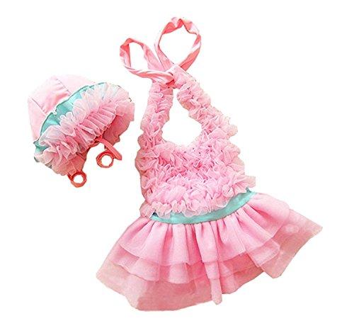 Taiycyxgan Mädchen Badeanzug Badekleid Mädchen Prinzessin Spitze Bademode Schwimmanzug Mit Hut Rosa (Prinzessin Von Hut Kind Rosa)