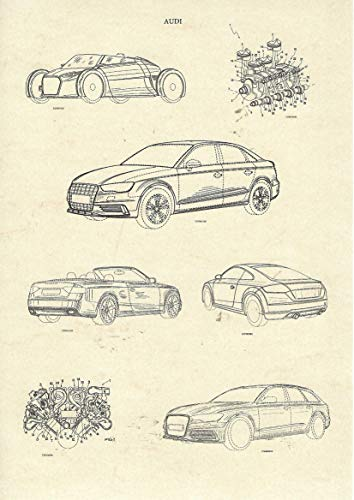 (Christian Stolz Audi Kunstdruck Patente Din A4 zur Deko in Büro, Schlafzimmer, Dekoration Wohnung modern oder als Geschenk Bild Poster)