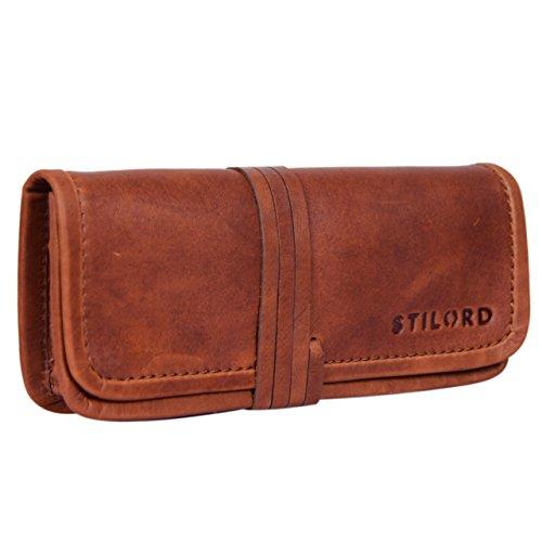 Stilord 'lenny' astuccio in pelle portapenne vintage in vero cuoio da uomo donna bambino portatabacco portamonete porta tabacco portamatite, colore:cognac-marrone