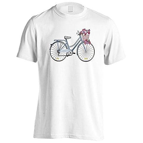 Vintage Bicycle Flower Basket Nouveauté Drôle Hommes T-Shirt mm58m