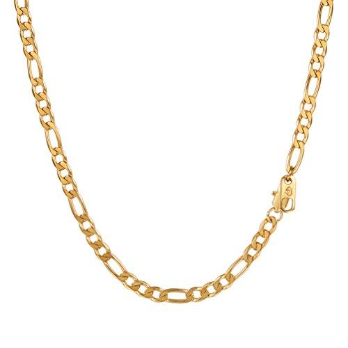 PROSTEEL Herren Halskette Edelstahl Figarokette 4MM Breite 3+1 glänzend vergoldet Glieder Link Gliederkette Herren Hip-Hop Kette, 51CM lang, Gold